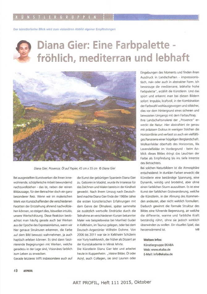 ART PROFIL, Diana Gier, Heft 111 2015, Oktober