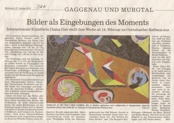 BNN Vorbericht zur Ausstellung im Rathaus in Gernsbach
