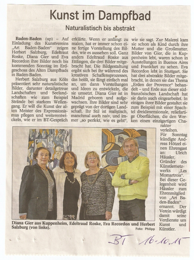 Badisches Tagblatt, Vernissage 11.Okt. 2015, im Alten Dampfbad, Baden-Baden