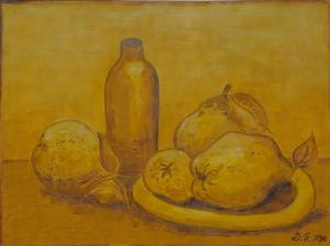 Diana Gier, Titel QUITTEN-Öl auf Papier-50x60-Da-KA-2-