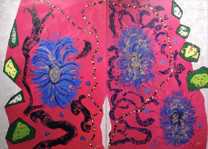 BN 2275, Diana Gier, AUF DEM WEG NACH JERICHO 1+2, Collage, Acryl Mischtechnik auf Leinwand, 2 x 70 x 100