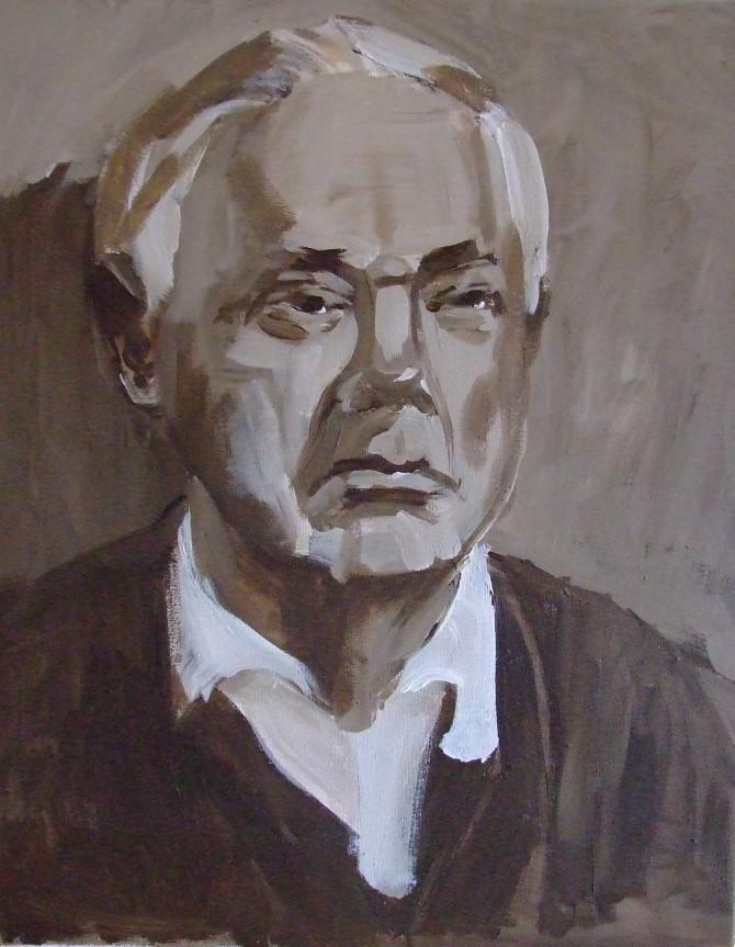 Titel DER REKTOR, Acryl auf Leinwand, 40 x 50